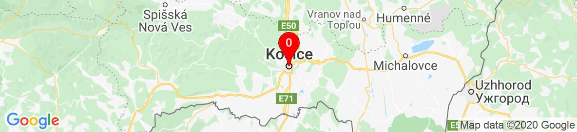 Mapa Košice, Košický kraj, Slovensko. More detailed map is available only for registered users. Please register or log in.